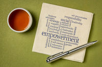 empowerment word cloud on napkin