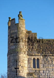 a close up of a corner turret on Monks Bar the 14 century gatehouse and north north eastern entrance to the city of york