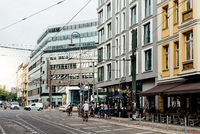 Street scene in a trendy shopping area in Central Berlin