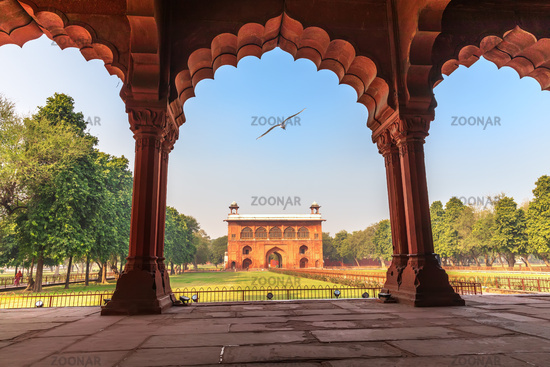 Red Fort Delhi, view on Lal Qila from Diwan-i-Aam, India