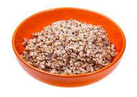 buckwheat porridge in bowl isolated on white