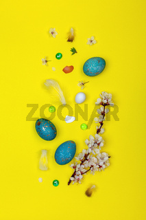 Easter eggs and a flowering branch.