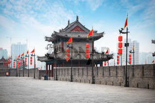 ancient tower on city wall in Xi'an