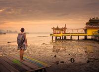 Tourist  at Yeoh jetty, Penang, Malaysia.