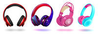 Set of modern professional headphones isolated on white background, realistic vector illustration.