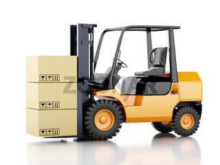 3d forklift truck with cardboard  boxes.