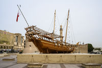 Wooden ship on the territory of the Museum of Dubai, UAE. Clear day 14 March 2020