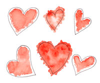 Set of Abstract watercolor sketch red hearts