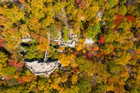 Coopers Rock state park overlook over the Cheat River in West Virginia with fall colors