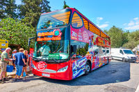 Sightseeing Bus at bus stop in Athens