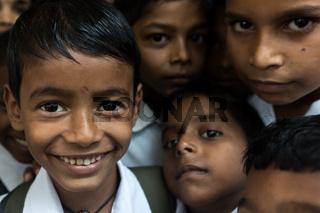 Elementary school students in a village near Mumbai city, India