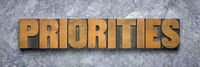 priorities word abstract in wood type