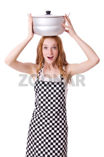 Young woman cook isolated on white