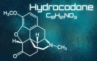 Chemical formula of Hydrocodone on a futuristic background
