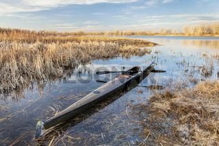 racing sea kayak ready for paddling