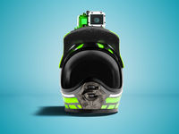 Modern green motorcycle helmet with green action camera in front 3d render on blue background with shadow