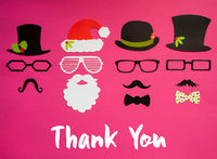 Santa Claus, Set Of Mask, Hat, Mustache, Pink Background, Thank You