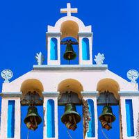 Greek church bell tower, Santorini, Greece