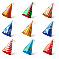 Colorful party hats. Realistic different festive headwear