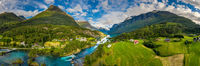 Panorama lovatnet lake Beautiful Nature Norway.