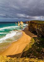 Twelve Apostles in ocean waves surf