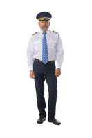 Airline pilot isolated on white