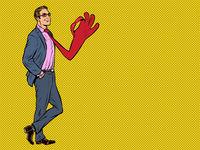 Positive businessman male, tie OK gesture