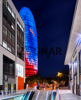 Agbar Tower in Barcelona, Spain at night
