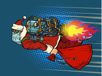 Santa Claus is flying on a rocket backpack. Christmas and New year
