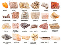 set of various unpolished minerals with names