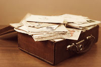 Suitcase with postal letters of 20 centure