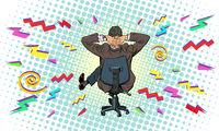 businessman in an office chair hard work