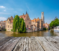Bruges (Brugge) cityscape with water canal