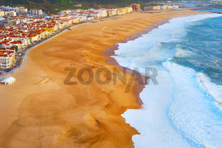 Aerial view Nazare beach Portugal