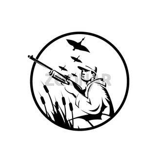 Bird Hunter or Duck Shooter With Rifle Circle Retro Black and White