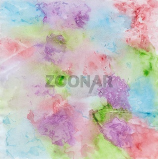 Mit Wasserfarbe gemaltes wasservermaltes buntes Aquarell mit Farbklecksen in Rot, Lila, Blau und Grü