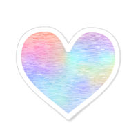 Heart shaped vintage label made from bright colorful holographic foil on white