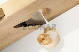 High angle view of single wood chip