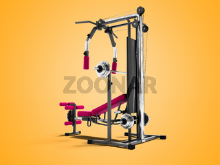 Modern raspberry sports training apparatus with black inserts for power load of legs and hands 3d render on orange background with shadow