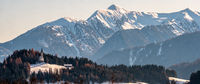 Mountain landscape, picturesque mountain church in the winter morning, large panorama