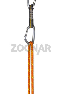 climbing rope clipped into a quickdraw