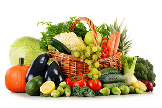 Composition with assorted raw organic vegetables isolated on white