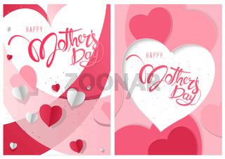 Glücklicher Muttertag der zwei Grußkarten mit Herzen