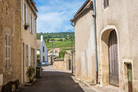 MEURSAULT, BURGUNDY, FRANCE- JULY 9, 2020: The street with ancient buildings in the Meursault