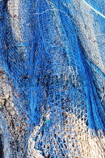 Fishing nets stretched in a port