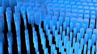 Abstract composition background full of cylinders made of frost blue glass. 3d illustration