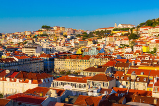 Old town panorama during sunset seen from Santa Justa Lift in Lisbon city, Portugal