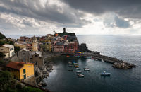 Village of Vernazza with colourful houses and small beautiful  port, CinqueTerre, Italy