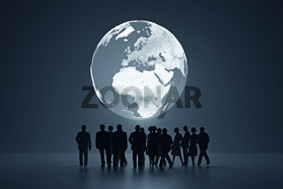 business peoples in front of world map - Illustration