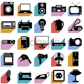 Collection flat icons with long shadow. Electrical devices symbols. Vector illustration.
